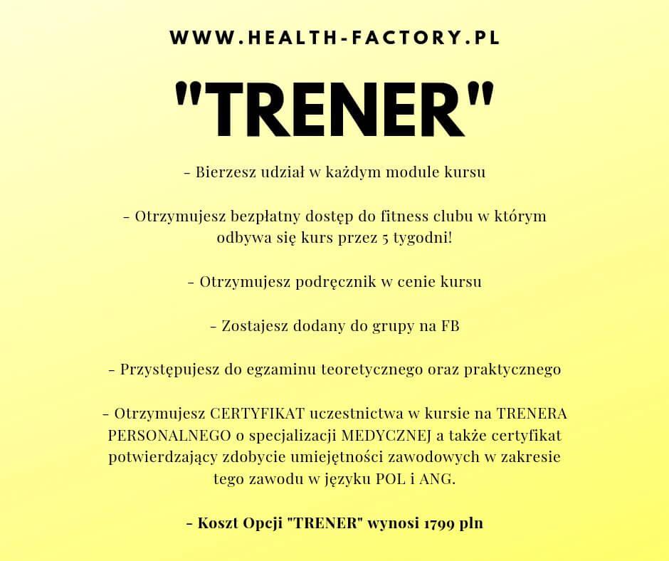 Kurs na TRENERA PERSONALNEGO z praktykami w Health Factory